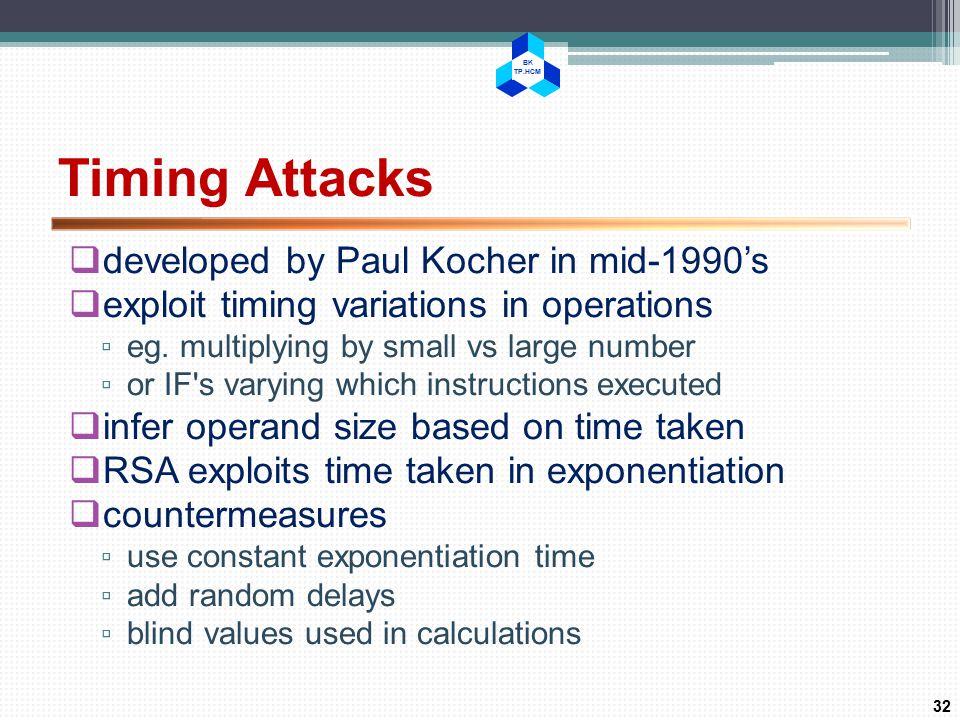 BK TP.HCM Timing Attacks  developed by Paul Kocher in mid-1990's  exploit timing variations in operations ▫ eg.