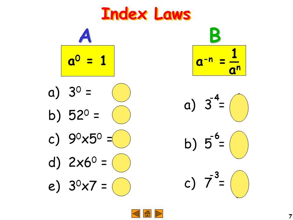 7 a) 3 0 =1 b) 52 0 =1 c) 9 0 x5 0 =1 d) 2x6 0 =2 e) 3 0 x7 =7 a) 3= b) 5= c) 7= AB 1313 1515 1717 4 6 3 a 0 = 1 a -n = 1an1an -4 -6 -3
