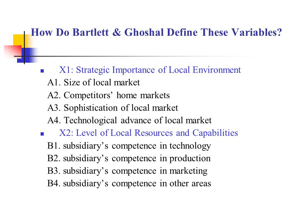 How Do Bartlett & Ghoshal Define These Variables. X1: Strategic Importance of Local Environment A1.