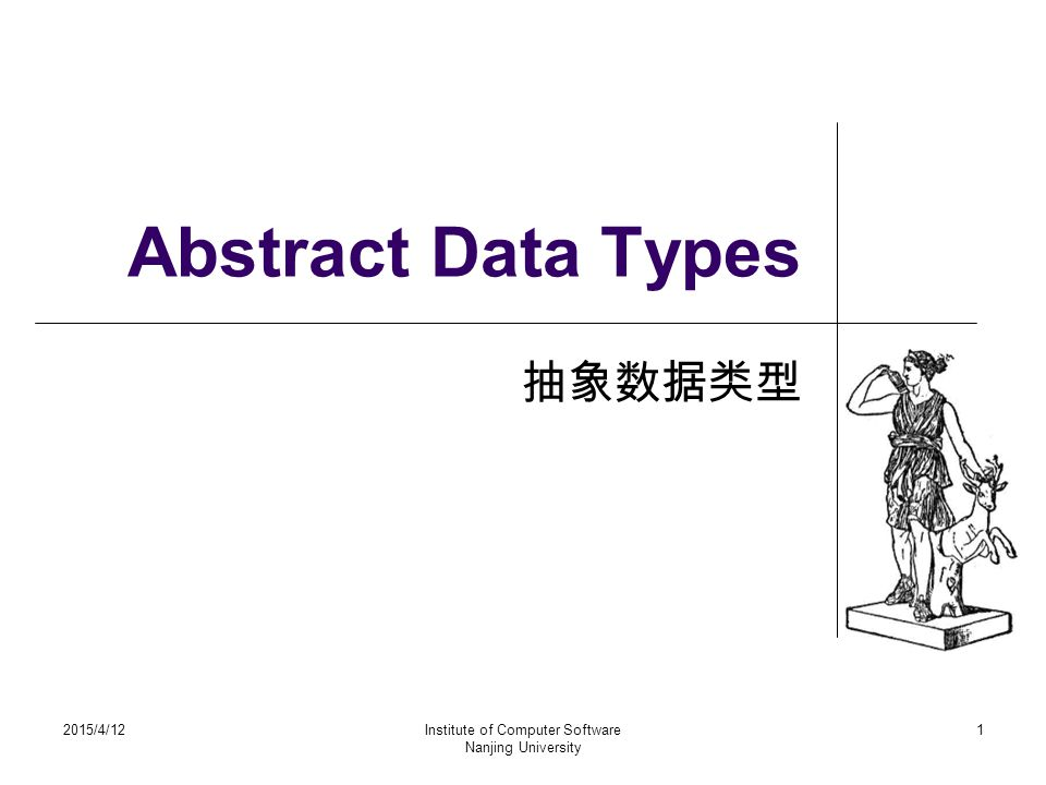 Abstract Data Types 抽象数据类型 2015/4/12Institute of Computer Software Nanjing University 1