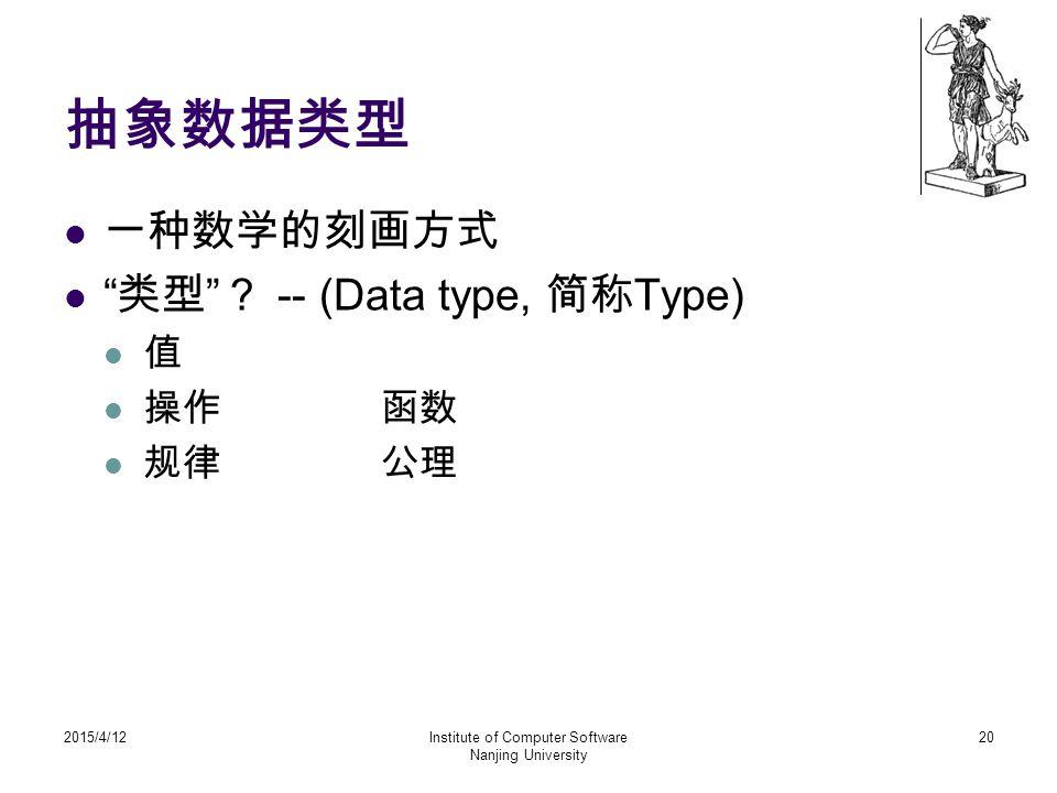 """抽象数据类型 一种数学的刻画方式 """" 类型 """" ? -- (Data type, 简称 Type) 值 操作函数 规律公理 2015/4/12Institute of Computer Software Nanjing University 20"""