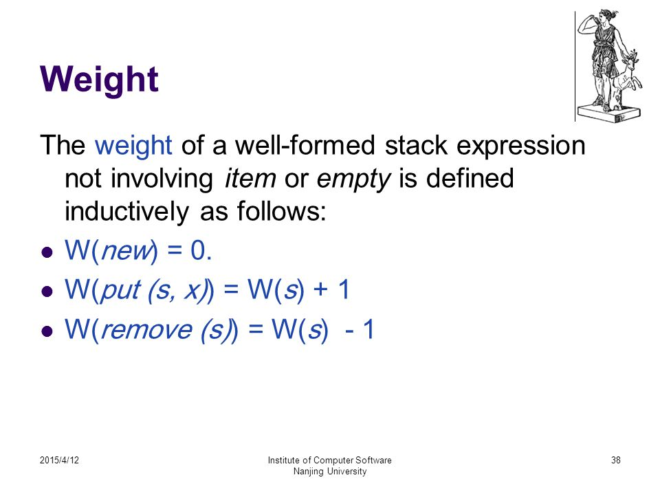 Weight The weight of a well-formed stack expression not involving item or empty is defined inductively as follows: W(new) = 0.