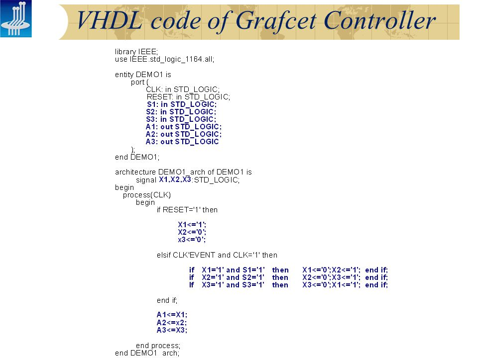 VHDL code of Grafcet Controller