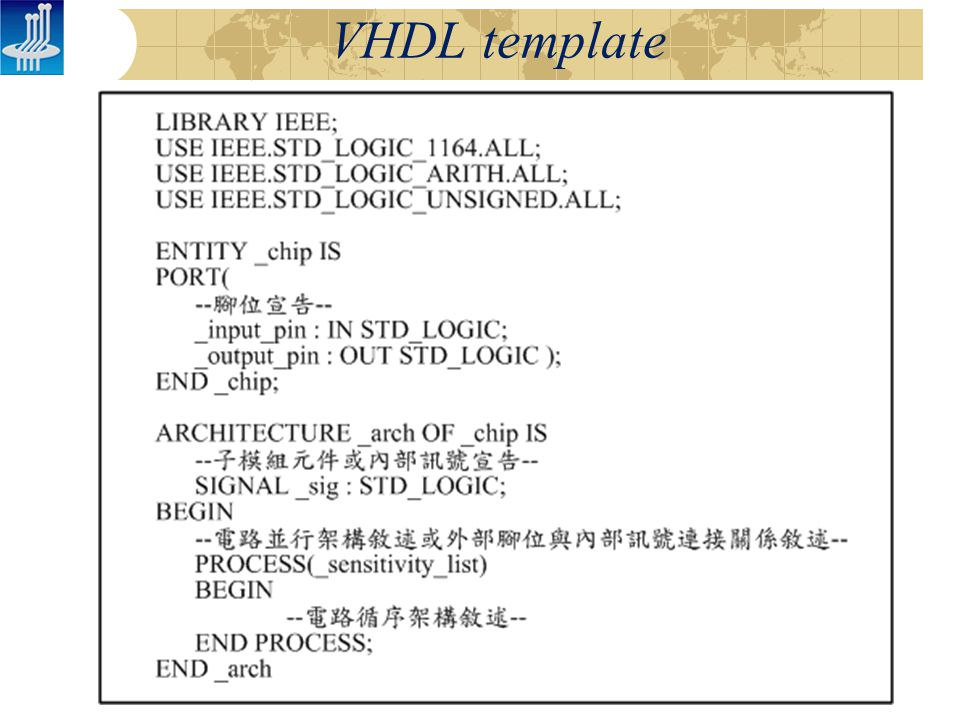 VHDL template