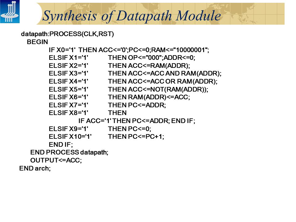 Synthesis of Datapath Module datapath:PROCESS(CLK,RST) BEGIN IF X0= 1 THEN ACC<= 0 ;PC<=0;RAM<= 10000001 ; ELSIF X1= 1 THEN OP<= 000 ;ADDR<=0; ELSIF X2= 1 THEN ACC<=RAM(ADDR); ELSIF X3= 1 THEN ACC<=ACC AND RAM(ADDR); ELSIF X4= 1 THEN ACC<=ACC OR RAM(ADDR); ELSIF X5= 1 THEN ACC<=NOT(RAM(ADDR)); ELSIF X6= 1 THEN RAM(ADDR)<=ACC; ELSIF X7= 1 THEN PC<=ADDR; ELSIF X8= 1 THEN IF ACC= 1 THEN PC<=ADDR; END IF; ELSIF X9= 1 THEN PC<=0; ELSIF X10= 1 THEN PC<=PC+1; END IF; END PROCESS datapath; OUTPUT<=ACC; END arch;
