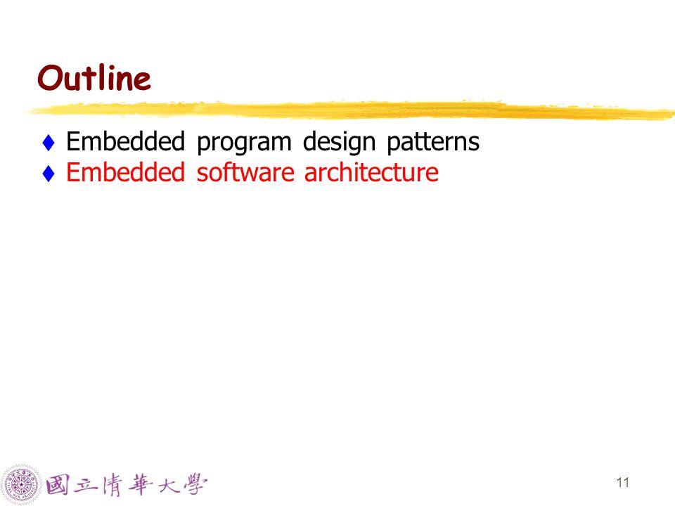 11 Outline  Embedded program design patterns  Embedded software architecture