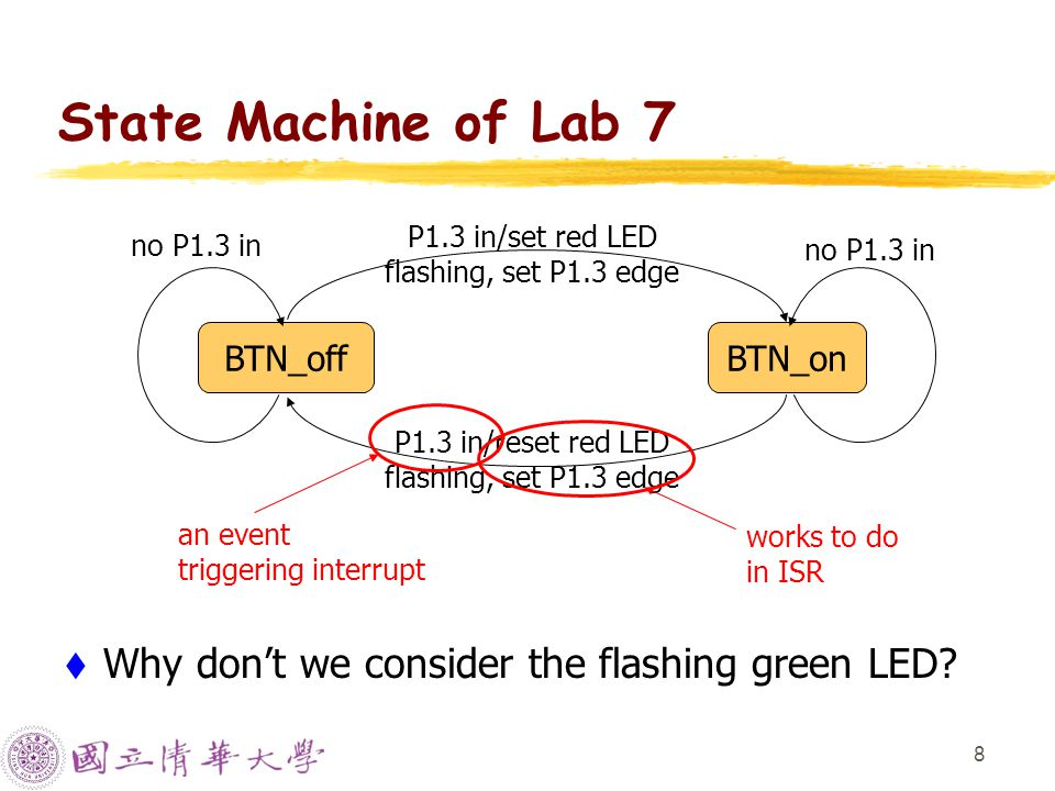 8 State Machine of Lab 7 WWhy don't we consider the flashing green LED.