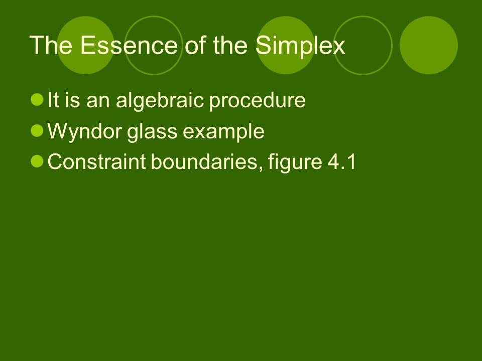 The Essence of the Simplex It is an algebraic procedure Wyndor glass example Constraint boundaries, figure 4.1