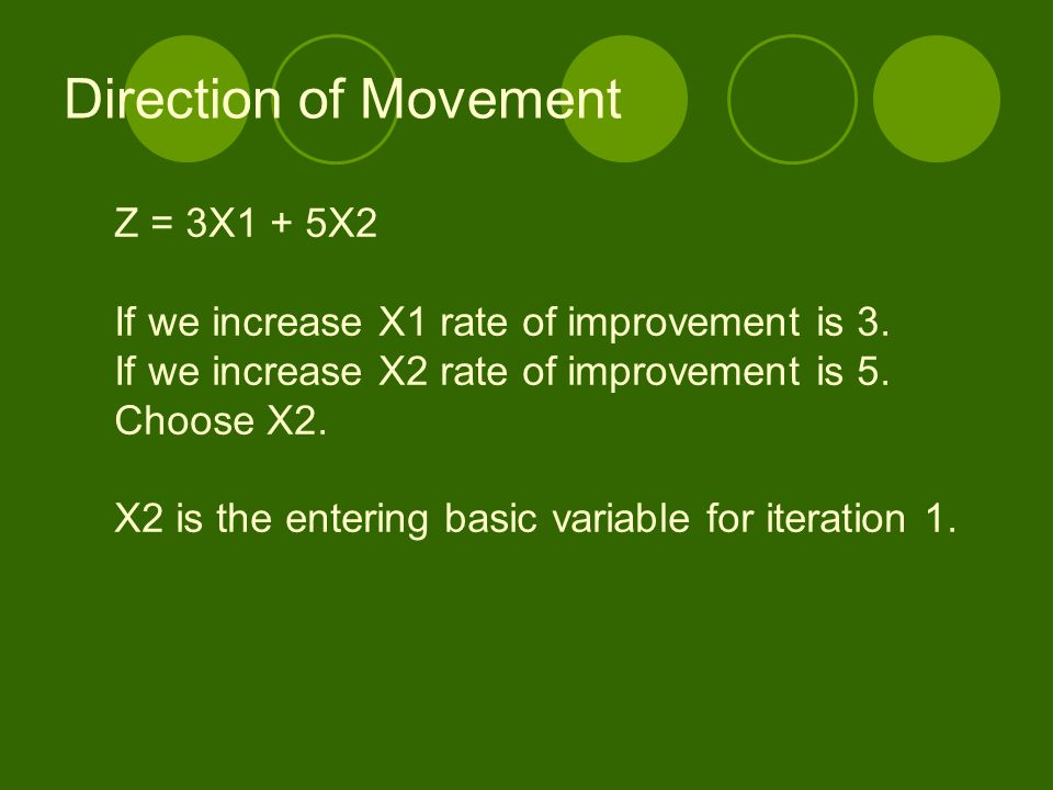 Direction of Movement Z = 3X1 + 5X2 If we increase X1 rate of improvement is 3. If we increase X2 rate of improvement is 5. Choose X2. X2 is the enter