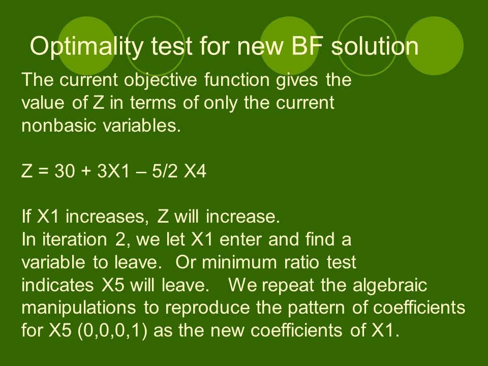 Optimality test for new BF solution The current objective function gives the value of Z in terms of only the current nonbasic variables. Z = 30 + 3X1
