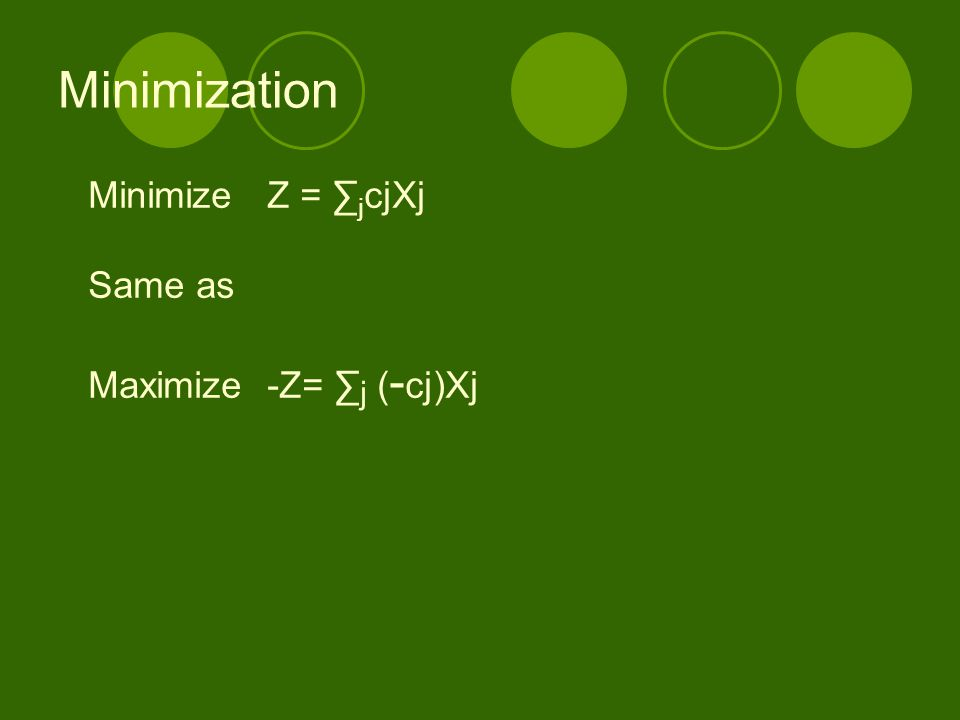 Minimization Minimize Z = ∑ j cjXj Same as Maximize -Z= ∑ j ( - cj)Xj