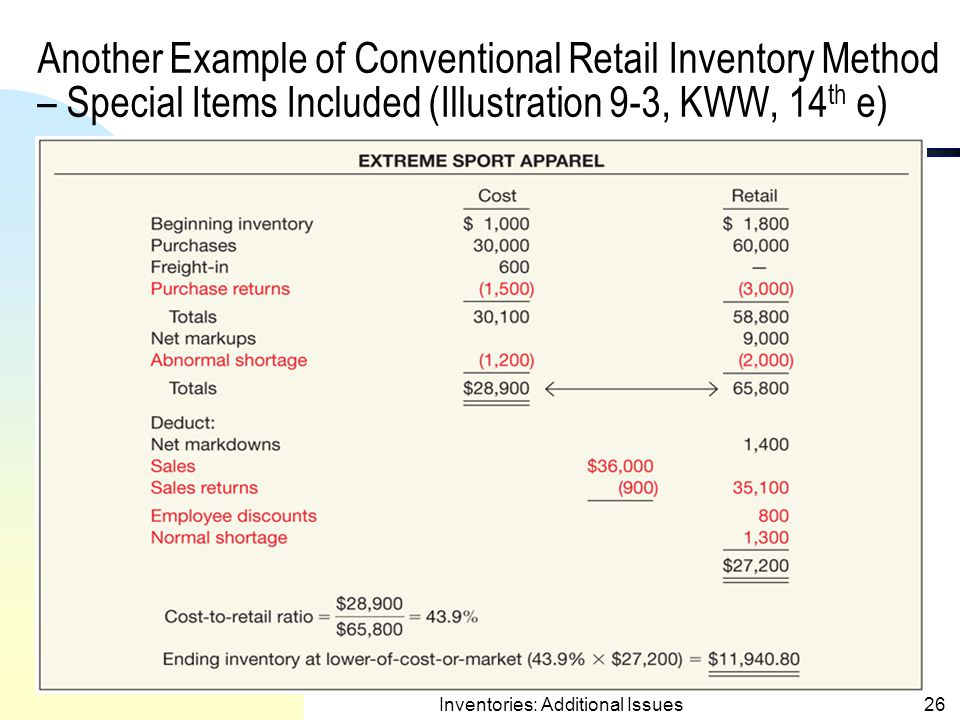 Retail Inventory Method –Special Items Included(contd.) 1)Average Method (consider all price adjust.) u Cost Ratio = 75,600  107,700 = 70.19%.