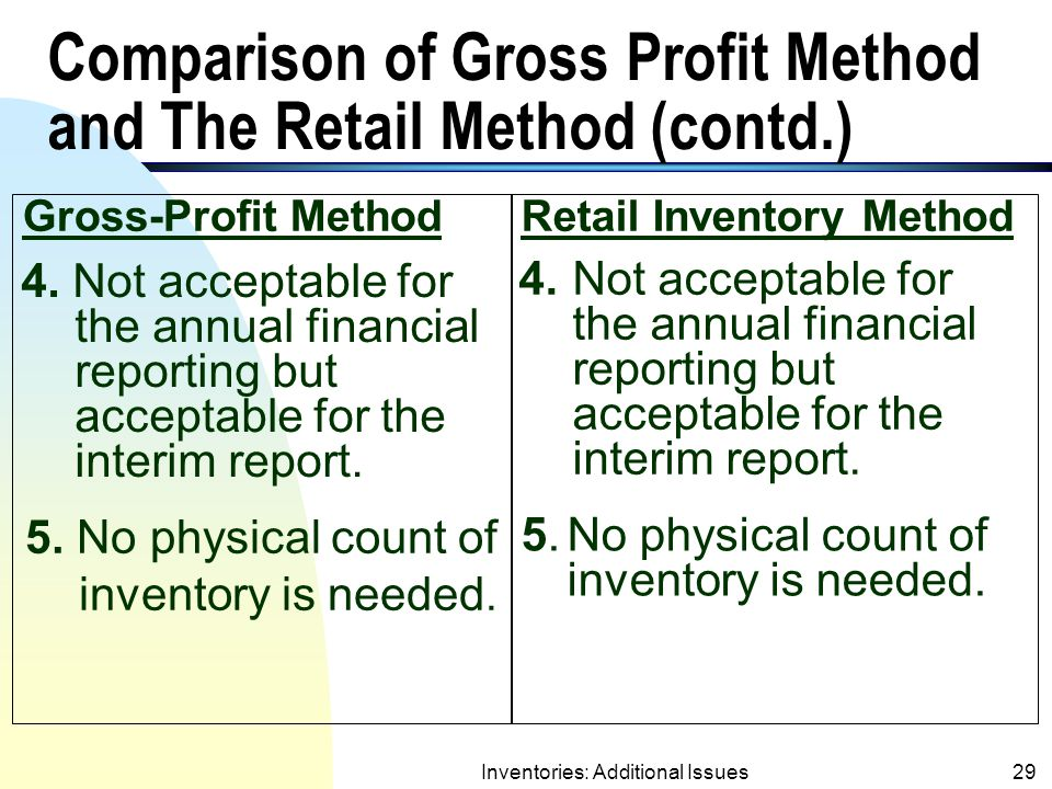 Inventories: Additional Issues28 Comparison of Gross Profit Method and Retail Inventory Method (contd.) Gross-Profit MethodRetail Inventory Method 3.Gross profit ratio is estimated from past years' experience (not updated with the price adjustments of the current year).