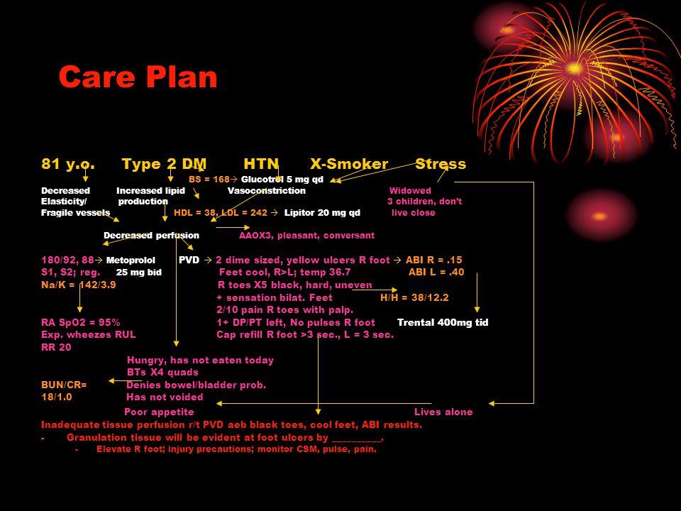 Care Plan 81 y.o. Type 2 DM HTN X-Smoker Stress BS = 168  Glucotrol 5 mg qd Decreased Increased lipid Vasoconstriction Widowed Elasticity/ production