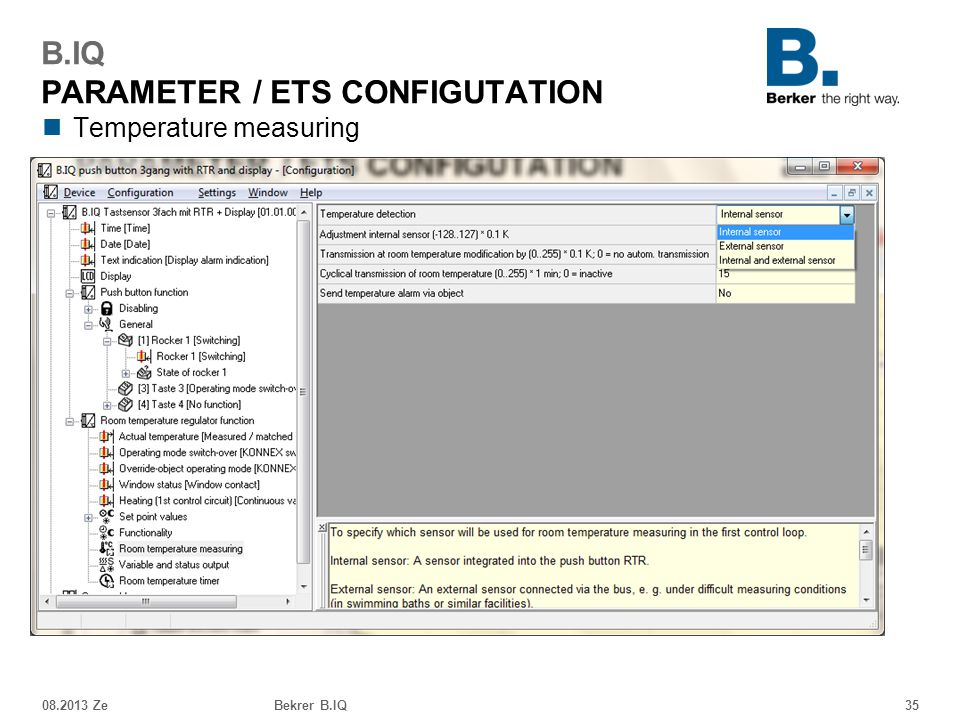 Temperature measuring 08.2013 ZeBekrer B.IQ35 B.IQ PARAMETER / ETS CONFIGUTATION