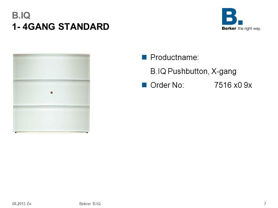 08.2013 ZeBekrer B.IQ7 B.IQ 1- 4GANG STANDARD Productname: B.IQ Pushbutton, X-gang Order No: 7516 x0 9x