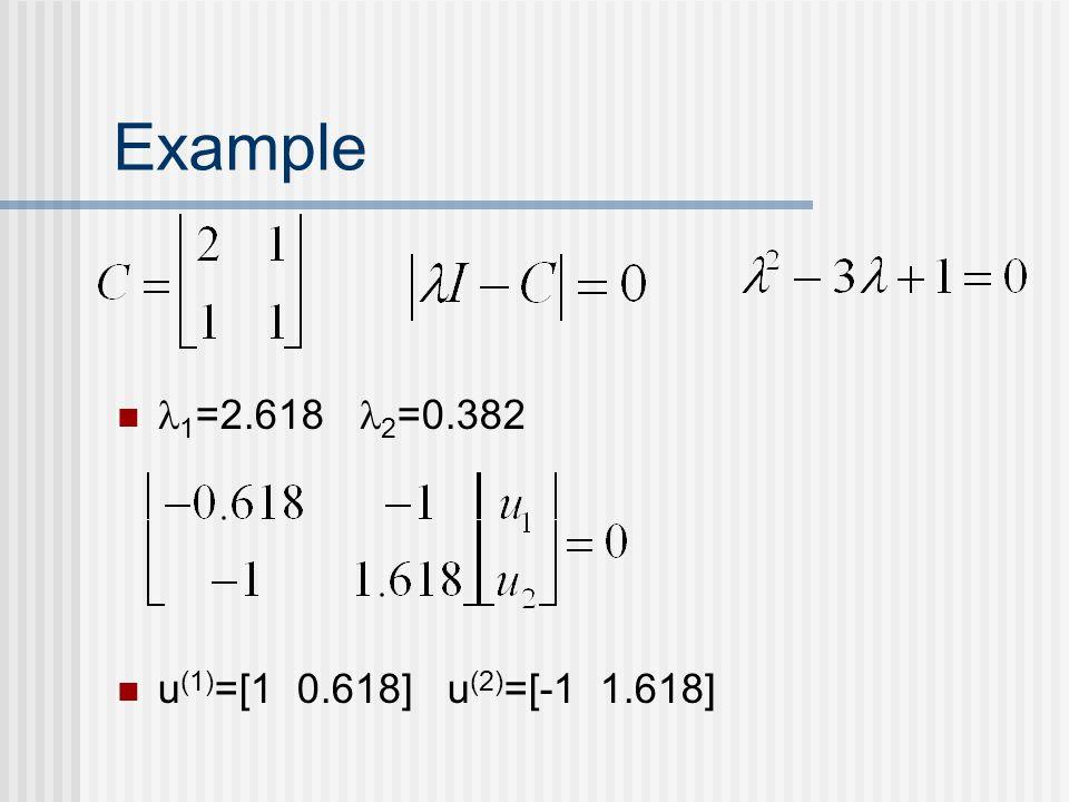 Example 1 =2.618 2 =0.382 u (1) =[1 0.618] u (2) =[-1 1.618]