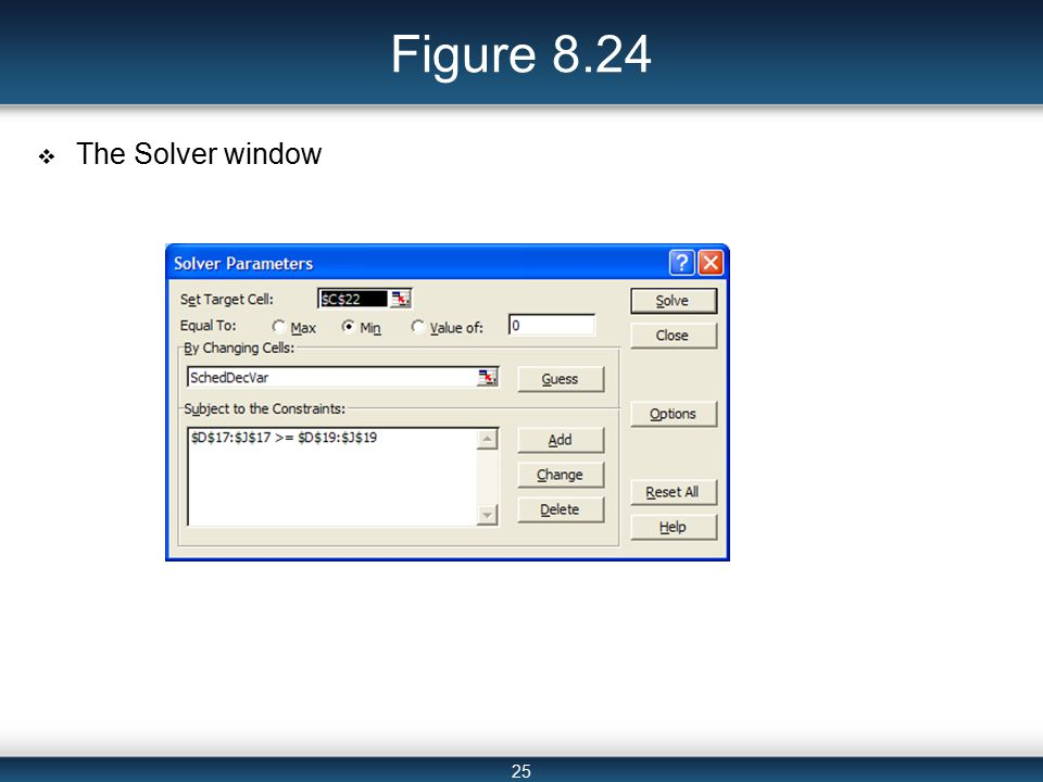 25 Figure 8.24  The Solver window