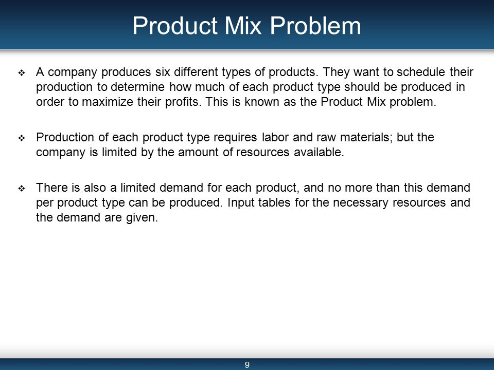9 Product Mix Problem  A company produces six different types of products.