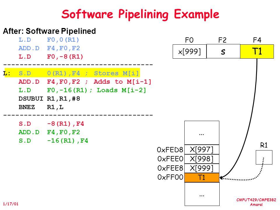 CMPUT429/CMPE382 Amaral 1/17/01 Software Pipelining Example in the IA-64 000 1617 18 Predicate Registers 0 LC 0 EC loop: (p16)ldl r32 = [r12], 1 (p17)add r34 = 1, r33 (p18)stl [r13] = r35,1 br.ctop loop 0 x4 x5 x1 x2 x3 y4 y5 y1 y2 y3 Memory y2 x5y5 General Registers (Physical) 3233 34 35 36 373839 General Registers (Logical) y3y1y4 -7 RRB 3839 32 33 34 353637