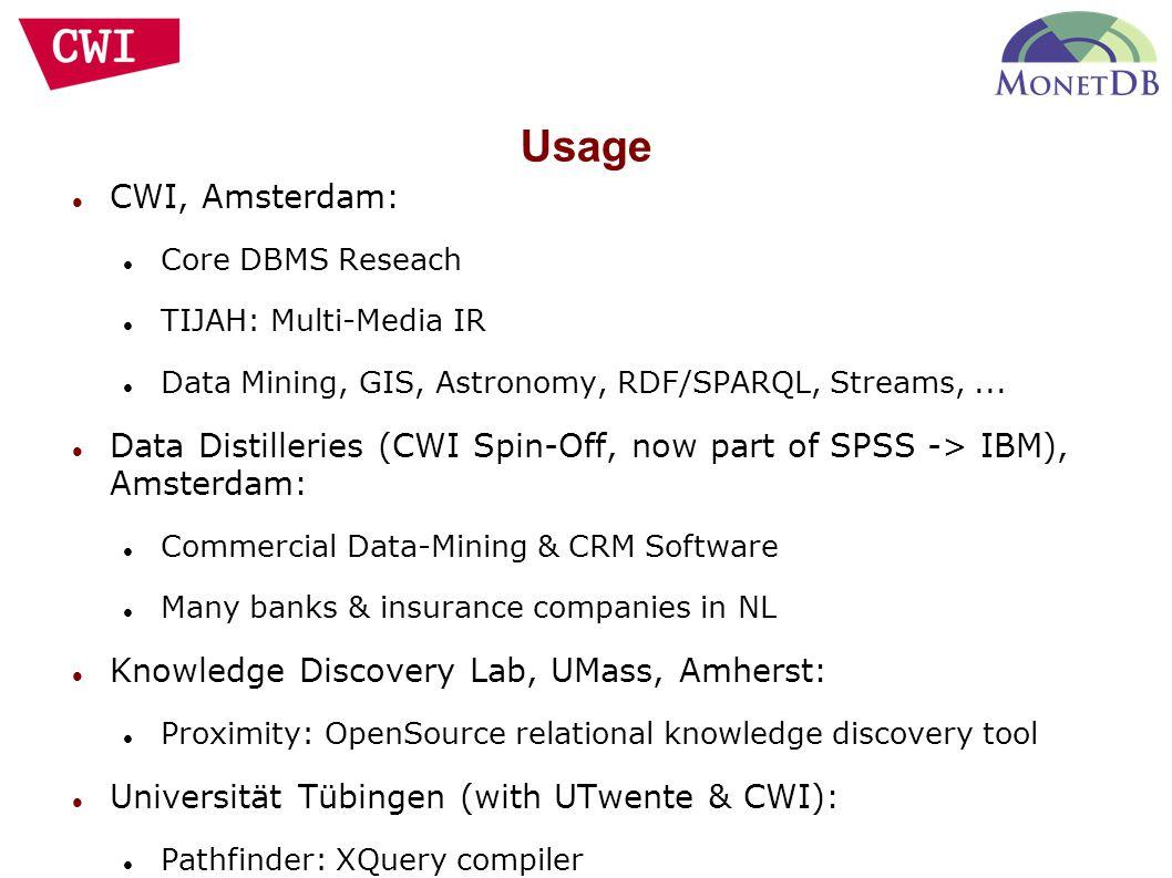 Usage CWI, Amsterdam: Core DBMS Reseach TIJAH: Multi-Media IR Data Mining, GIS, Astronomy, RDF/SPARQL, Streams,... Data Distilleries (CWI Spin-Off, no