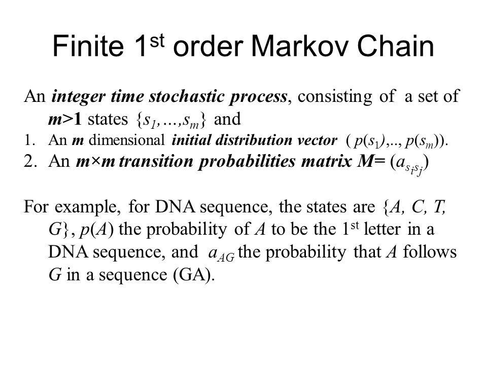 1 st Markov Chain X1X1 X2X2 X n-1 XnXn For each integer n, a Markov Chain assigns probability to sequences (x 1 …x n ) as follows: