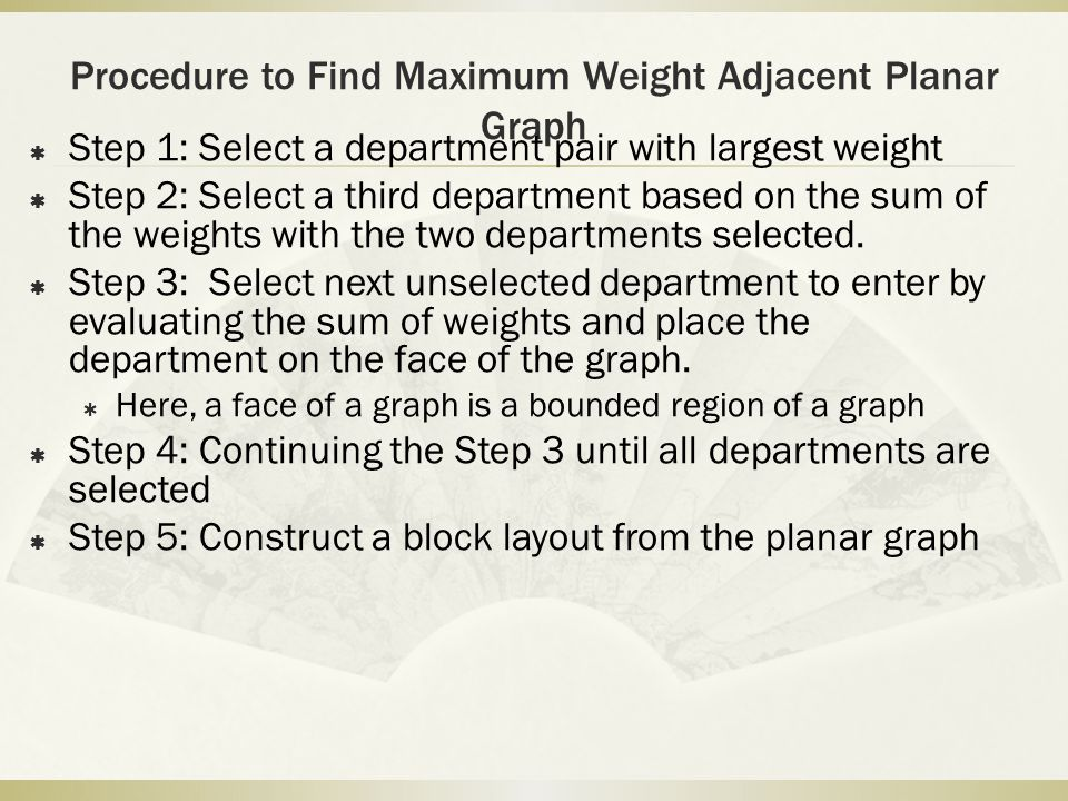 Procedure to Find Maximum Weight Adjacent Planar Graph  Step 1: Select a department pair with largest weight  Step 2: Select a third department base