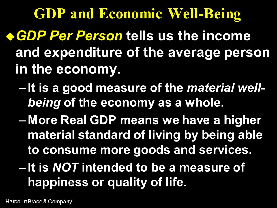 Harcourt Brace & Company GDP and Economic Well-Being u GDP Per Person tells us the income and expenditure of the average person in the economy. –It is