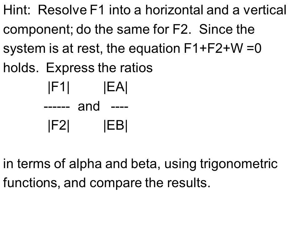 F1 Cos[b] + F2 Cos[a] = W F1 Sin[b] - F2 Sin[a] = 0 | Cos[b] Cos[a] ||F1| = | W | | Sin[b] -Sin[a] ||F2| = | 0 | Multiply by | -Sin[a] -Cos[a] | | -Sin[b] Cos[b| | | -Sin[a] Cos[b]-Cos[a]Sin[b] 0 | = W|-Sin[a] | | 0 -Sin[b] Cos[a]-Cos[b]Sin[a]| |-Sin[b] |