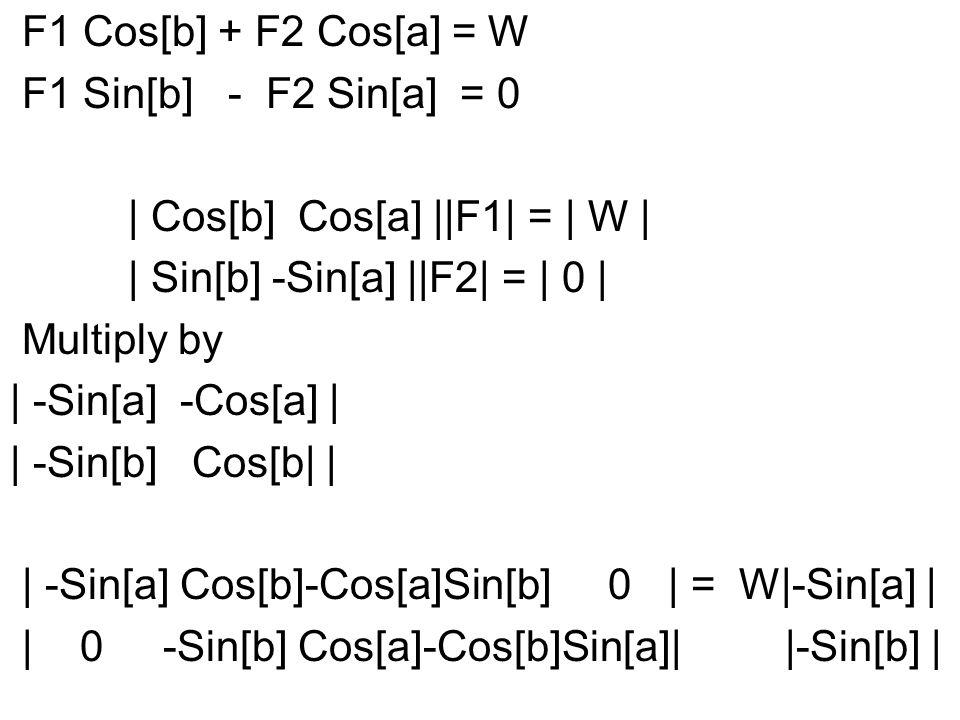 | -Sin[a] Cos[b]-Cos[a]Sin[b] 0 | = W|-Sin[a] | | 0 -Sin[b] Cos[a]-Cos[b]Sin[a]| |-Sin[b] | -W Sin[a] F1 = ------------ -Sin[a+b] -W Sin[b] F2 = --------- -Sin[a+b] |F1| Sin[a] ---- = ------- It is the torque about E that |F2| Sin[b] is balanced.