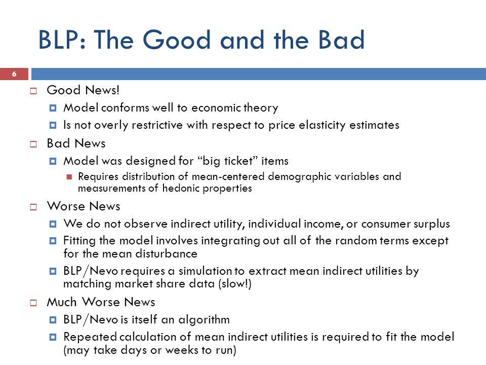 BLP: The Good and the Bad  Good News.