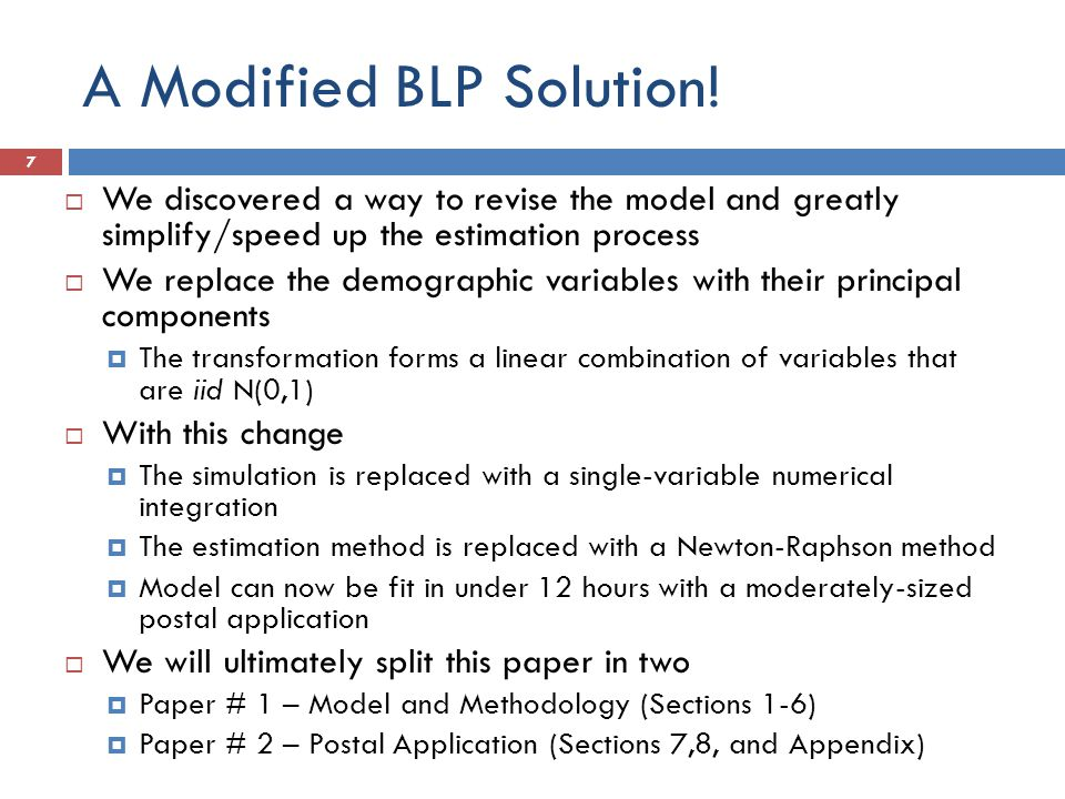 A Modified BLP Solution.