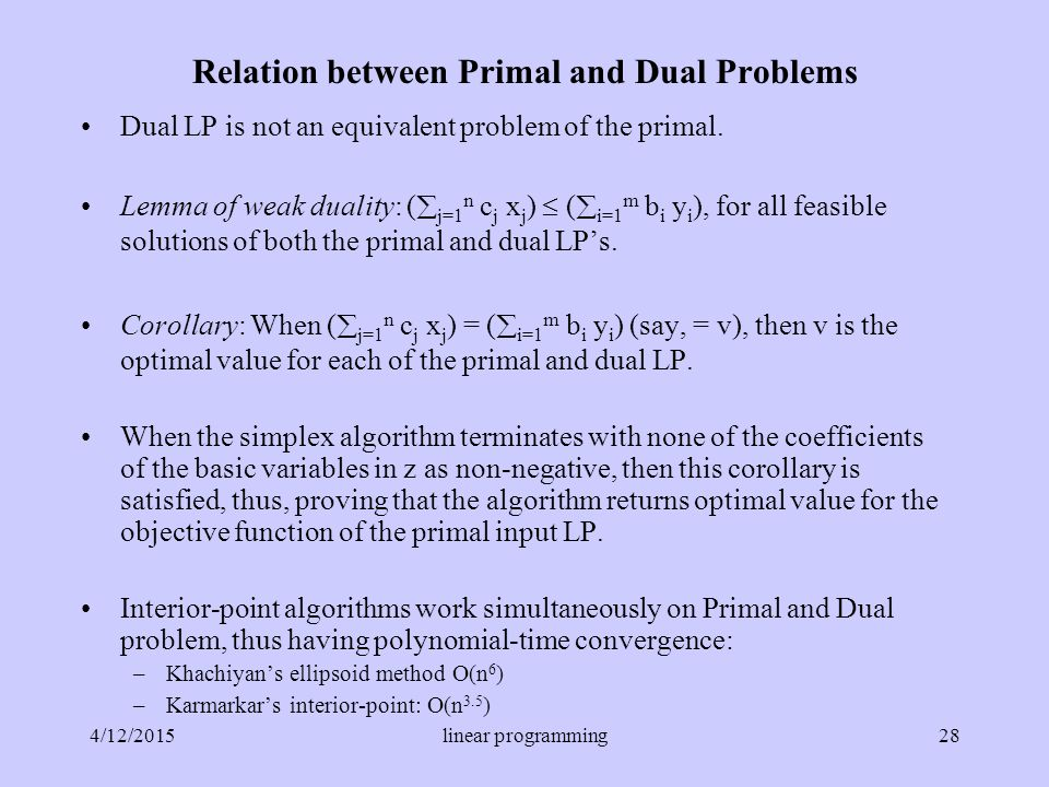 Relation between Primal and Dual Problems Dual LP is not an equivalent problem of the primal.