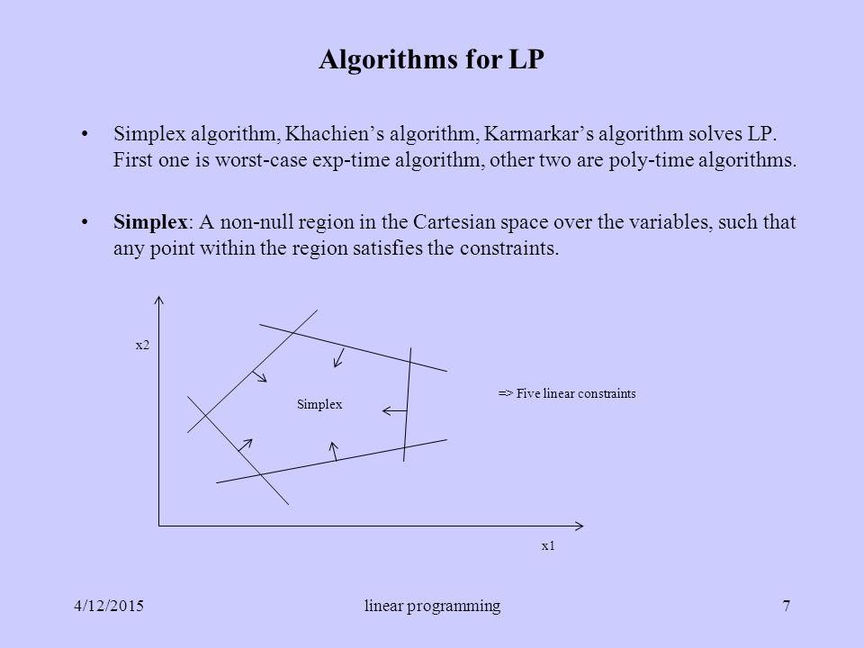 Simplex algorithm, Khachien's algorithm, Karmarkar's algorithm solves LP.