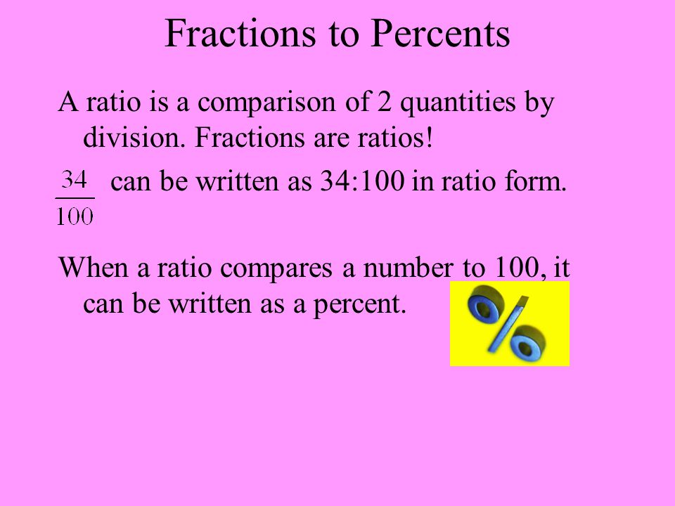 Fractions to Percents A ratio is a comparison of 2 quantities by division. Fractions are ratios! can be written as 34:100 in ratio form. When a ratio