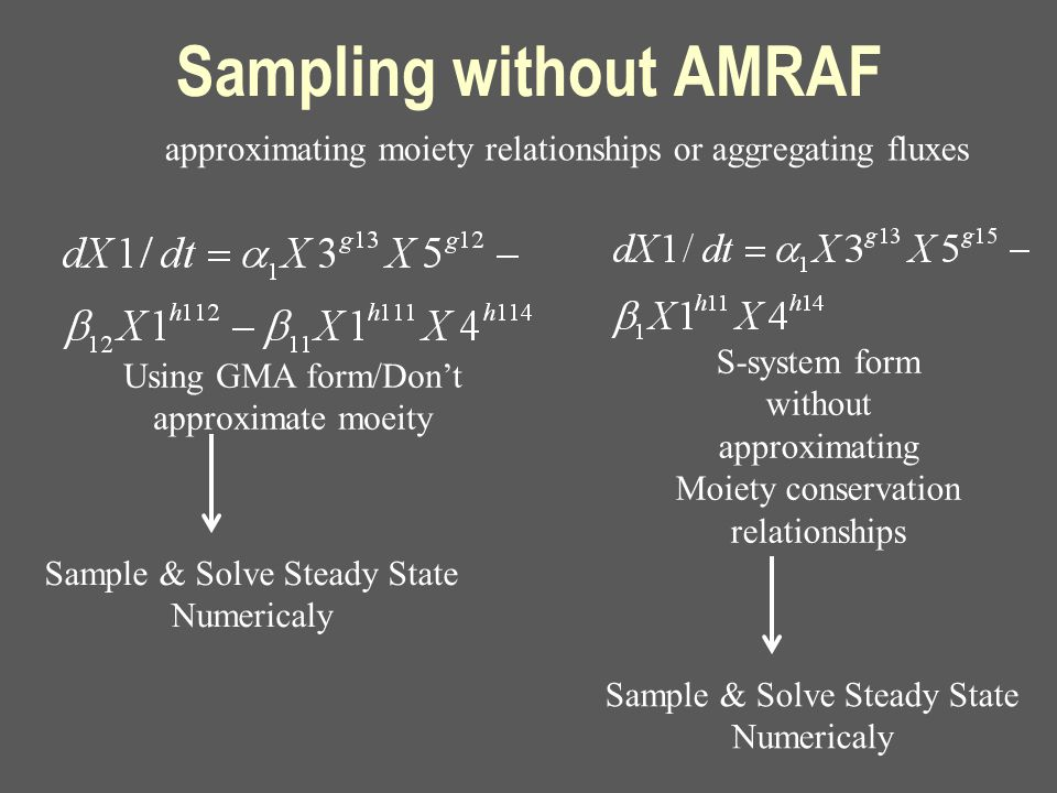 Sampling without AMRAF Sample & Solve Steady State Numericaly approximating moiety relationships or aggregating fluxes S-system form without approximating Moiety conservation relationships Using GMA form/Don't approximate moeity Sample & Solve Steady State Numericaly