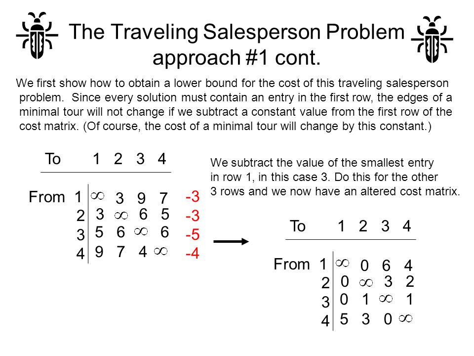 The Traveling Salesperson Problem approach #1 cont. We first show how to obtain a lower bound for the cost of this traveling salesperson problem. Sinc