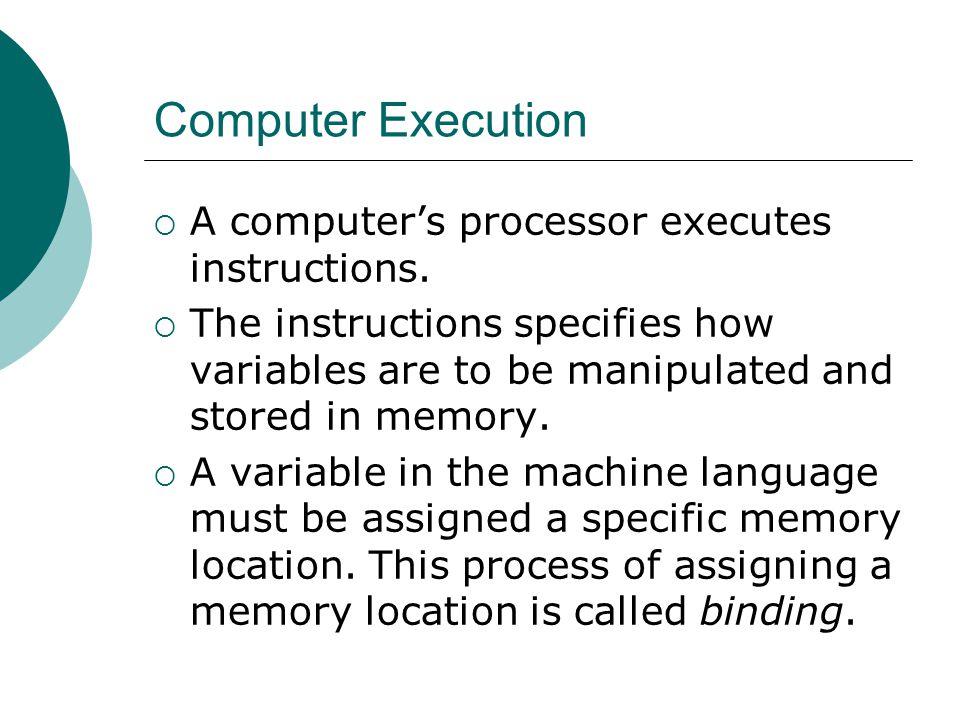 Computer Execution  A computer's processor executes instructions.