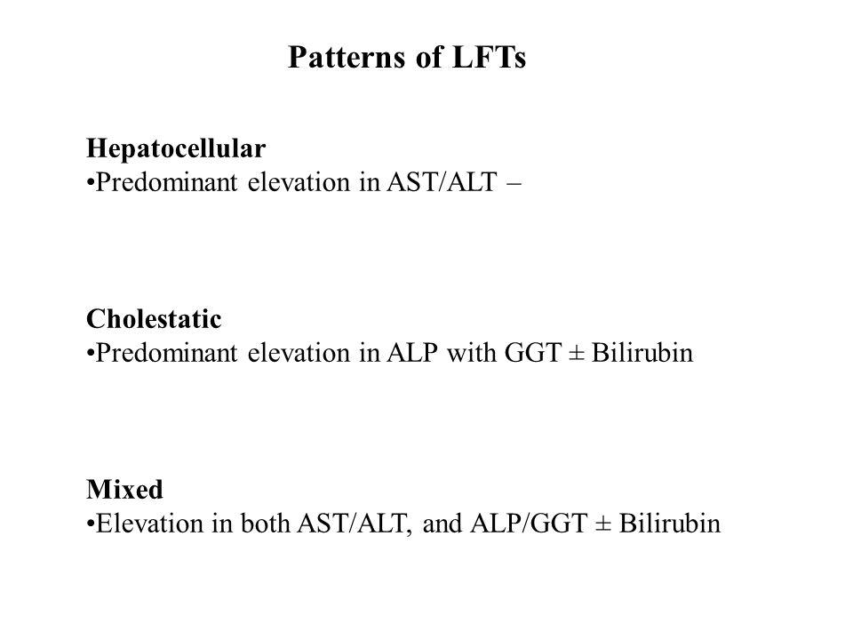 Patterns of LFTs Hepatocellular Predominant elevation in AST/ALT – Cholestatic Predominant elevation in ALP with GGT ± Bilirubin Mixed Elevation in bo