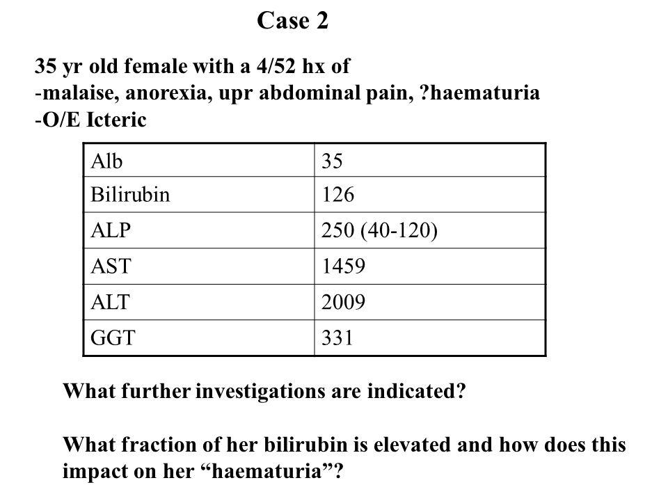 35 yr old female with a 4/52 hx of -malaise, anorexia, upr abdominal pain, ?haematuria -O/E Icteric Alb35 Bilirubin126 ALP250 (40-120) AST1459 ALT2009