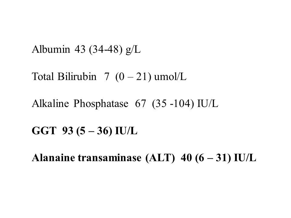 Albumin 43 (34-48) g/L Total Bilirubin 7 (0 – 21) umol/L Alkaline Phosphatase 67 (35 -104) IU/L GGT 93 (5 – 36) IU/L Alanaine transaminase (ALT) 40 (6