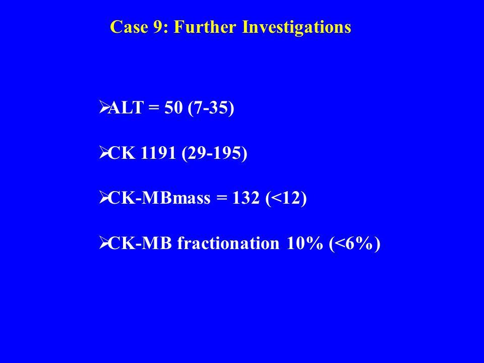 Case 9: Further Investigations  ALT = 50 (7-35)  CK 1191 (29-195)  CK-MBmass = 132 (<12)  CK-MB fractionation 10% (<6%)