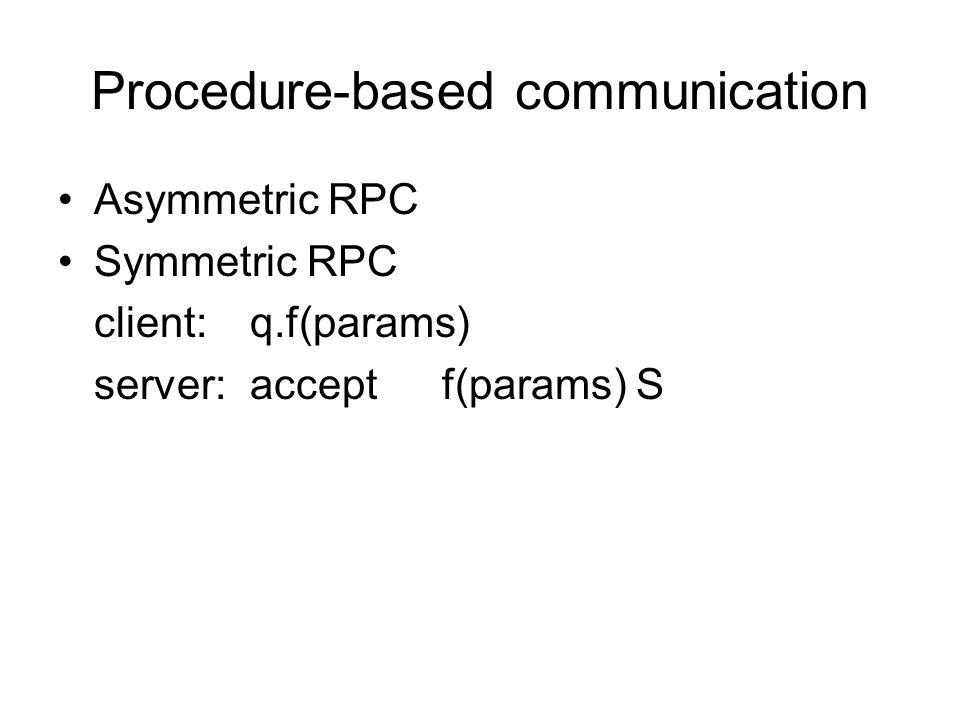 Procedure-based communication Asymmetric RPC Symmetric RPC client:q.f(params) server:acceptf(params) S