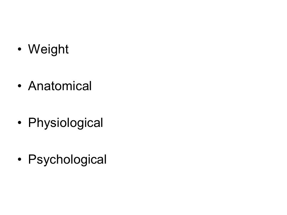 Weight Anatomical Physiological Psychological