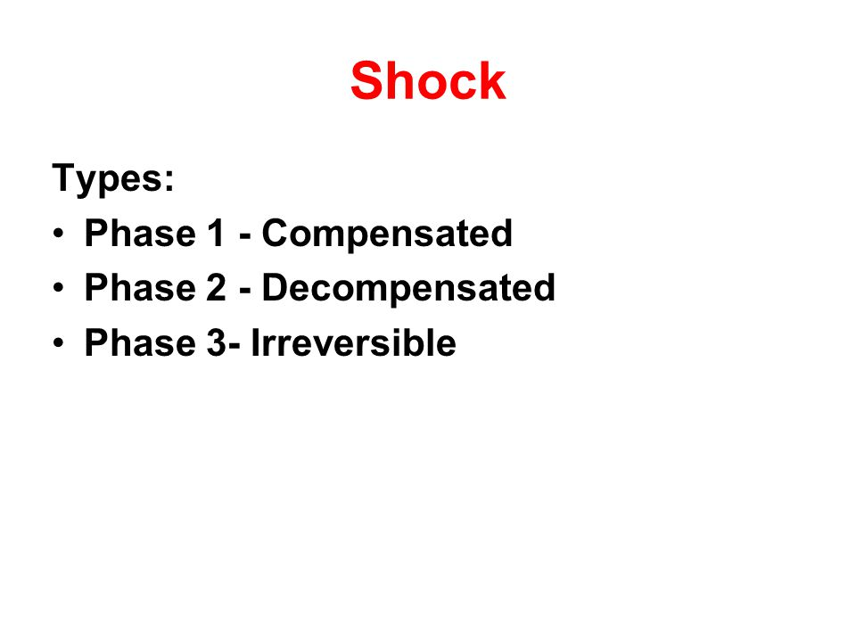 Shock Types: Phase 1 - Compensated Phase 2 - Decompensated Phase 3- Irreversible