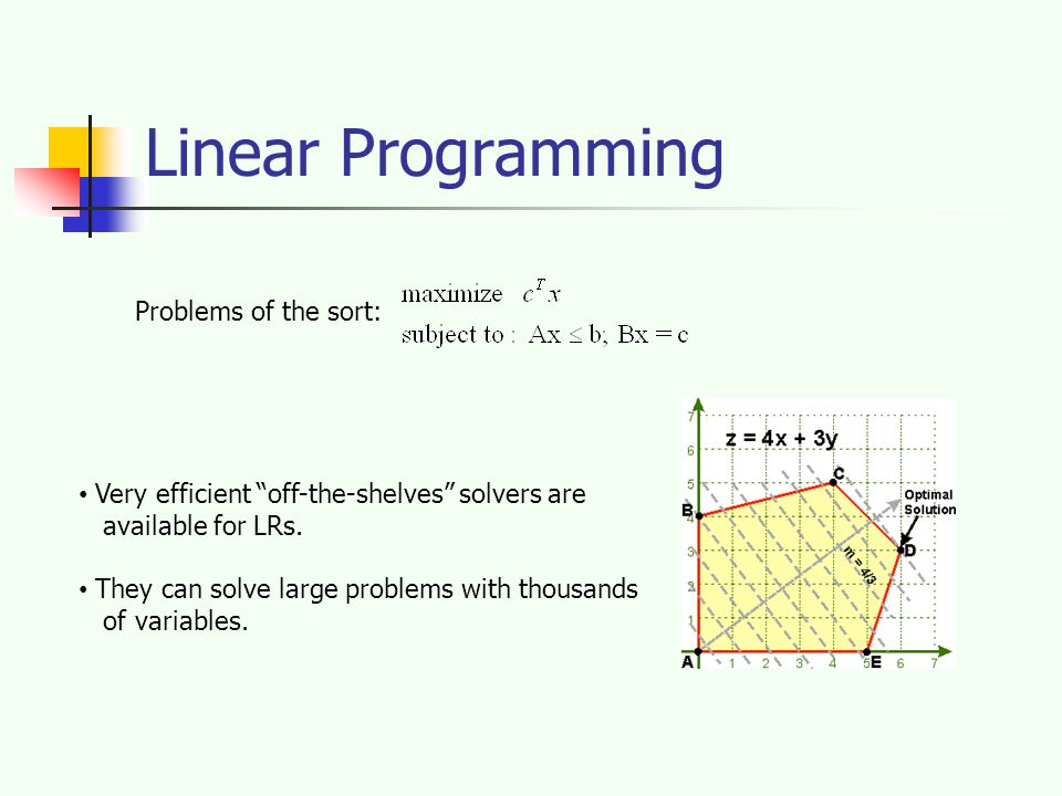 Linear Programming Problems of the sort: Very efficient off-the-shelves solvers are available for LRs.