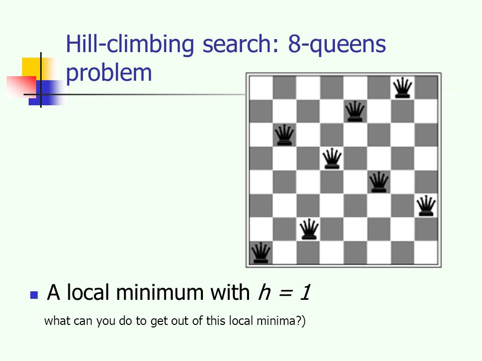 Hill-climbing search: 8-queens problem A local minimum with h = 1 what can you do to get out of this local minima )