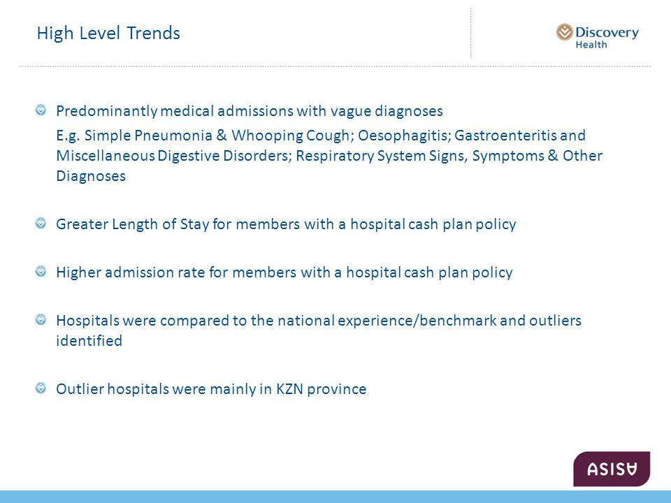 High Level Trends Predominantly medical admissions with vague diagnoses E.g.