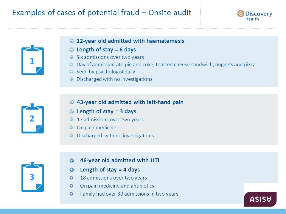 Examples of cases of potential fraud – Onsite audit 12-year old admitted with haematemesis Length of stay = 6 days Six admissions over two years Day of admission ate pie and coke, toasted cheese sandwich, nuggets and pizza Seen by psychologist daily Discharged with no investigations 43-year old admitted with left-hand pain Length of stay = 3 days 17 admissions over two years On pain medicine Discharged with no investigations 46-year old admitted with UTI Length of stay = 4 days 18 admissions over two years On pain medicine and antibiotics Family had over 30 admissions in two years 1 2 3 8