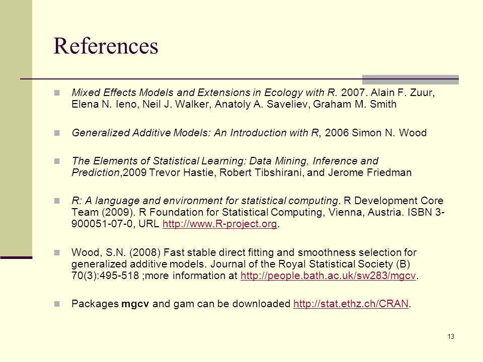 References Mixed Effects Models and Extensions in Ecology with R.